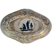 Antique 18th century Coalport Neoclassical Porcelain Dessert Dish with Silhouettes