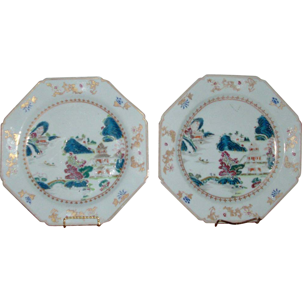 Fine & Rare Large Pair Chinese Export Porcelain 18th century Octagonal Chargers in Famille Rose