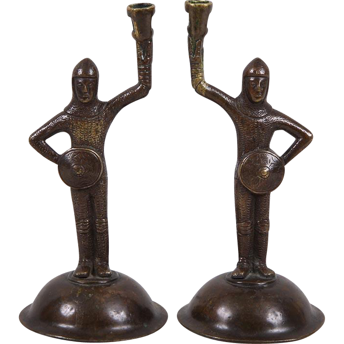Antique Pair 19th century Bronze Figural Candlesticks of Tudor Knights in Armor