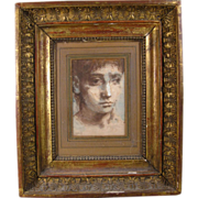 Paintings by Conger Metcalf - Portraits of Young Men Framed in Period 18th century Empire Carved & Gilt Wood Frame