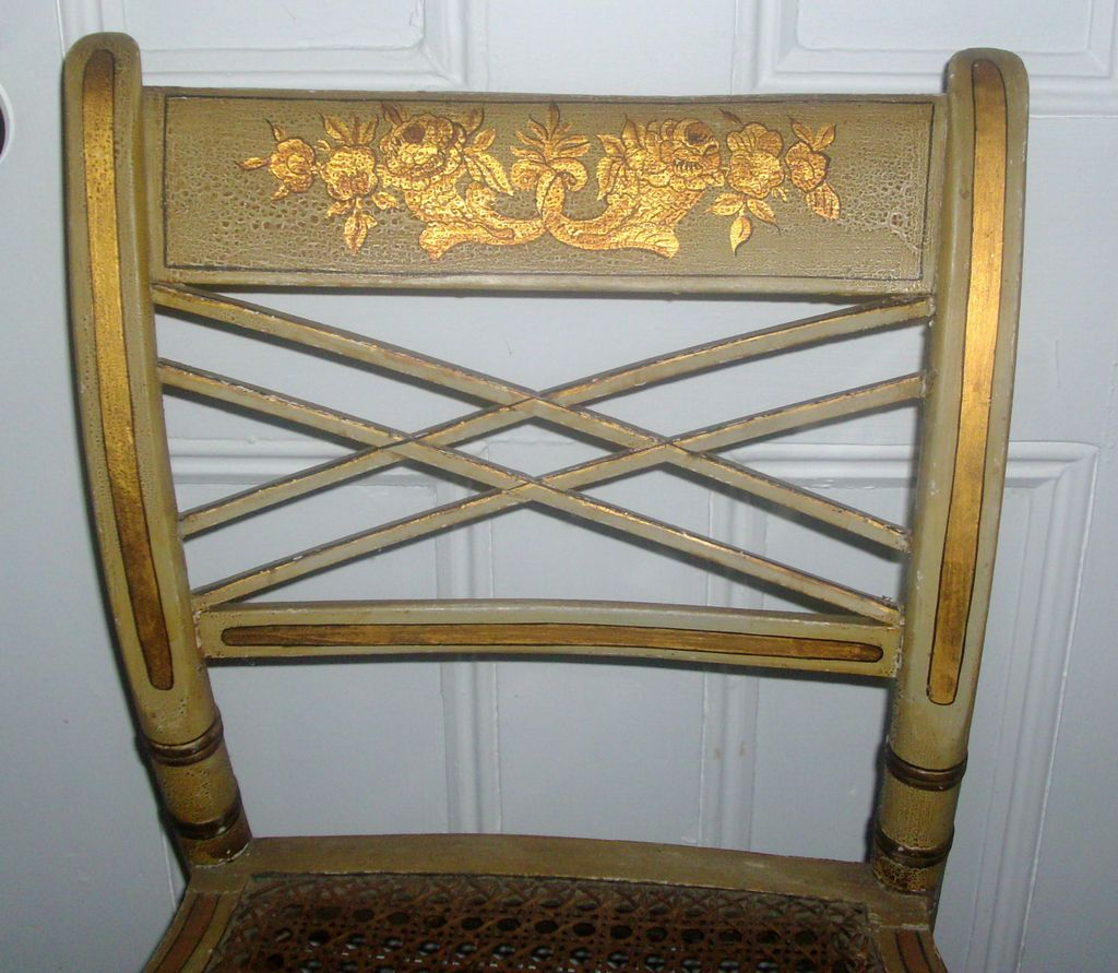 Antique Early 19th century American Classical Federal Paint Decorated Fancy Chair 1810