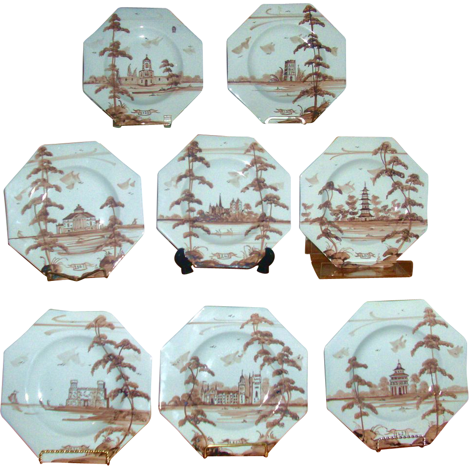 Set 8 Isis Pottery Tin Glazed Manganese Delft Octagonal Plates English