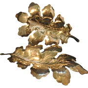 Pair Antique Early 20th century Apollo Studios New York Sculptural Silver Oak Leaf Dishes 1910 - 1920