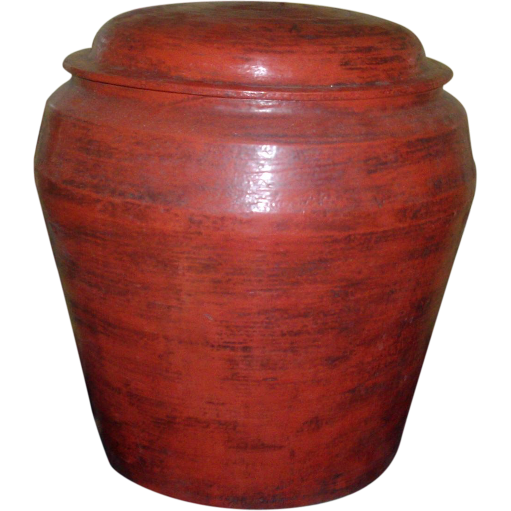 Large Antique Cinnabar Scarlet Red 19th century Chinese Lacquer Hamper Urn and Cover