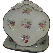 Antique Early 19th century English Regency Coalport Porcelain Shell and Square Dessert Serving Dishes