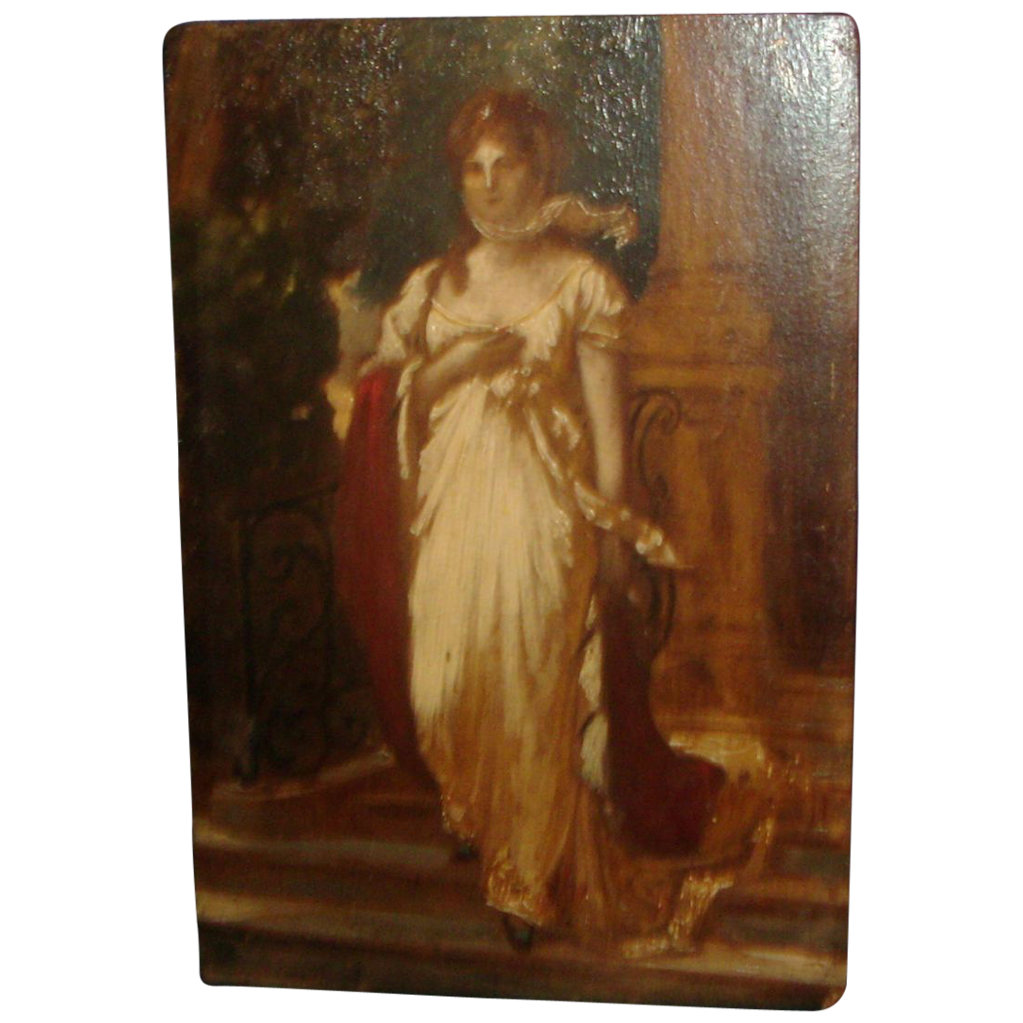 Antique 19th century Grand Tour Miniature Oil Painting on Board Classical Portrait of Luise of Mecklenburg after Gustav Richter