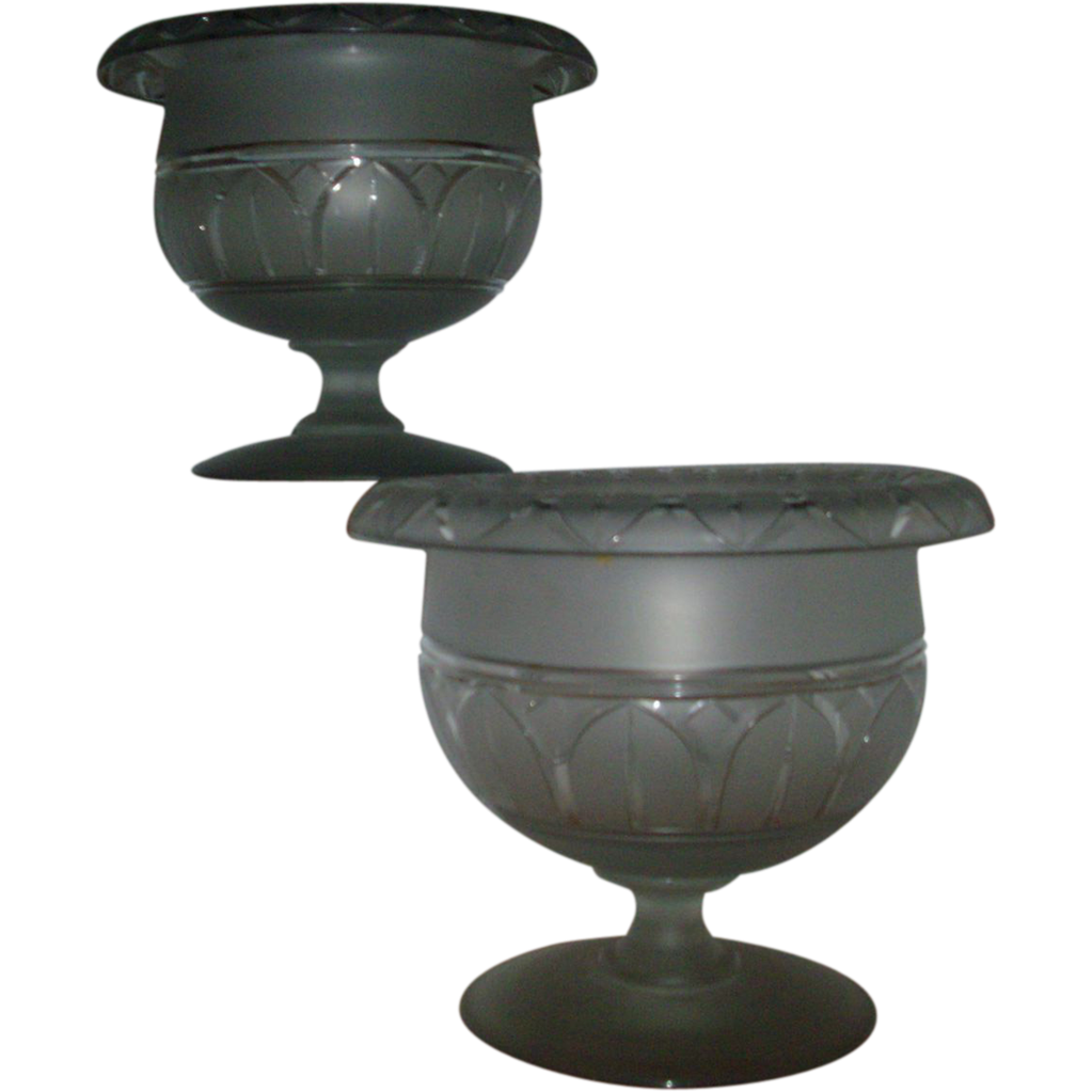 Fine and Rare Pair 19th century American Frosted and Cut Glass Centerpiece Compotes in the Gothic Taste