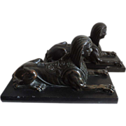 Pair Antique Early 19th century English Regency Bronze Grand Tour Sphinxes on Marble Bases
