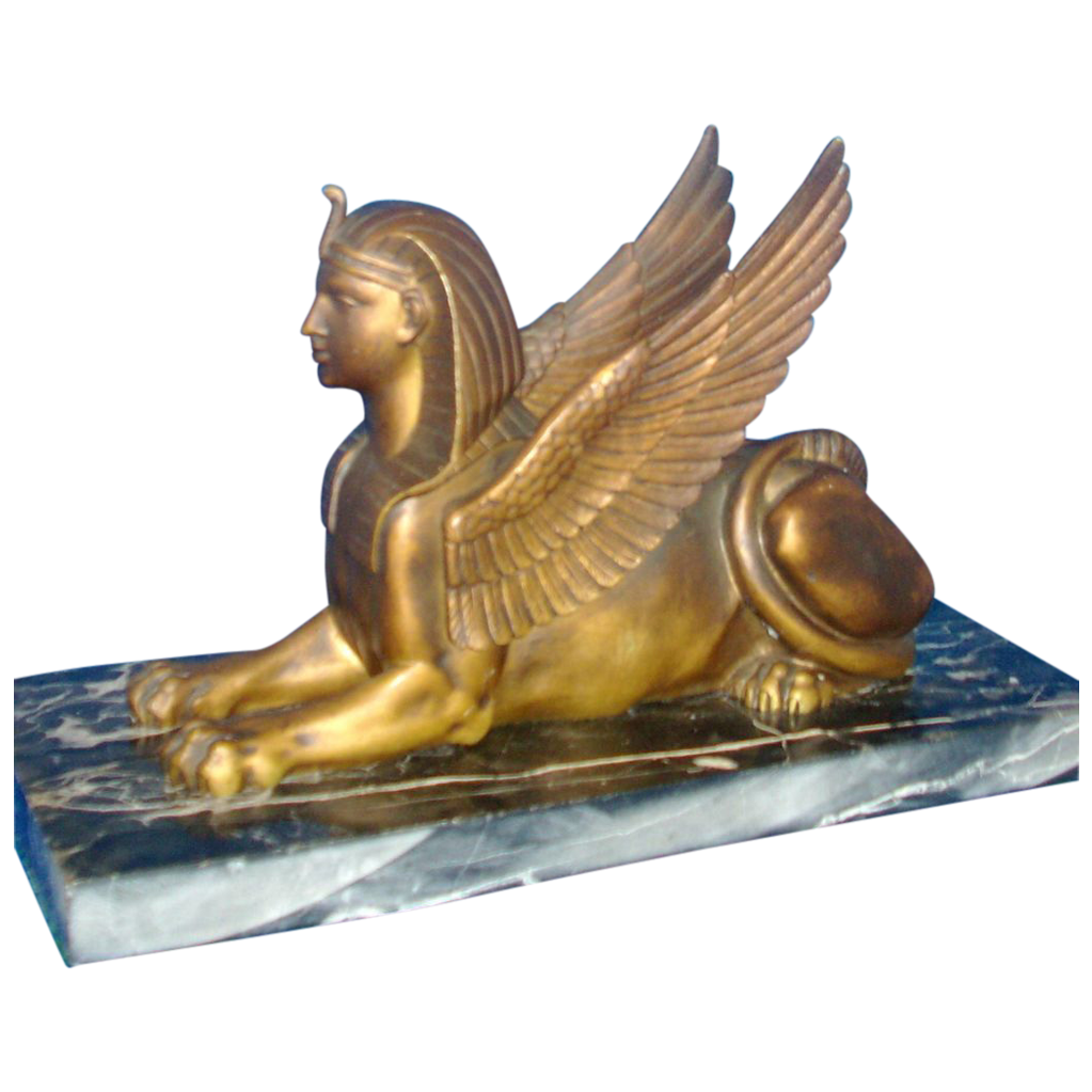 Antique 19th century Grand Tour Bronze Model of a Winged Sphinx on Marble Base