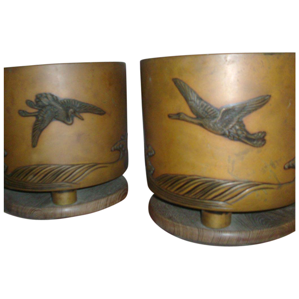 Fine Pair Antique Art Deco Japanese Bronze and Copper Jardinieres on Elm Wood Bases