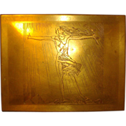 Rare Art Deco Rockwell Kent Brass Cigar Box 1920