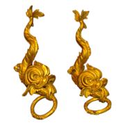 Pair Antique 19th century French Gilt Bronze Dolphin Form Drapery Curtain Mounts Tie Backs