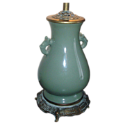 Antique 19th century Chinese Monochrome Porcelain Celadon Vase as Lamp