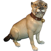 Antique 19th century Continental Porcelain Model of a Pug Dog