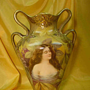 Art Nouveau Royal Bonn Portrait Vase...Hand Painted...
