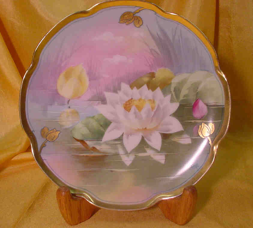 Hd. Ptd. Plate w/ Water Lily by J.H.Stouffer....