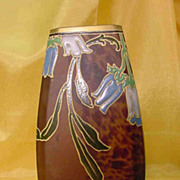 Art Nouveau Mottled Art Glass Vase by LEGRAS...Enameled