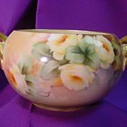 Willets Belleek Handled Bowl ptd. w/ Yellow Roses...