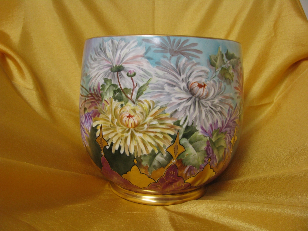Limoges Jardiniere Fully Ptd. w/ Mums and Accents....Stunning !!!