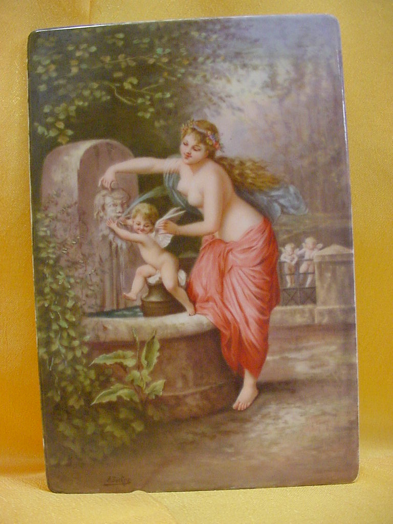 Antique Painting on Porcelain...Nude and Cherubs