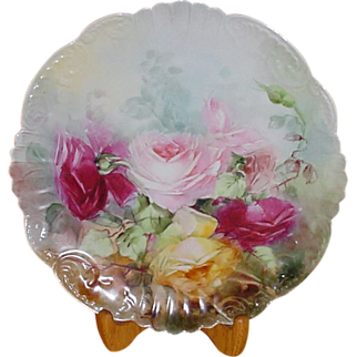 """Limoges Charger...12"""" diameter... Hd Ptd with Roses"""