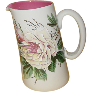 Opaque Art Glass Pitcher...enameled with Roses
