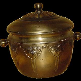 1900 German WMF Art Nouveau Brass Lidded Ice Bucket...Strawberry Design