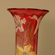 Large Floral Enameled Moser Vase