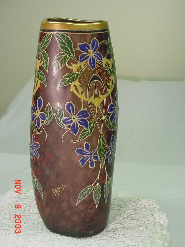 Mottled Glass Vase...LEGRAS...Full Enameled Decoration