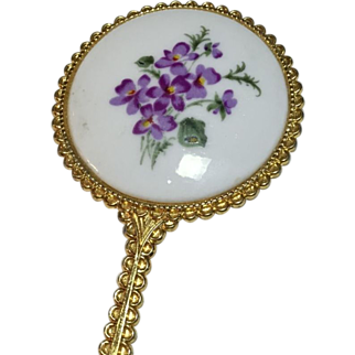 Gold-Tone Scroll-work and Porcelain Hand Mirror with Violet Transfer