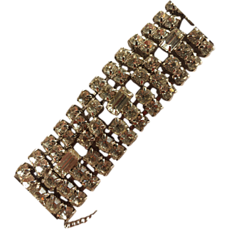 Large Mid-Century Clear Rhinestone Cuff Bracelet