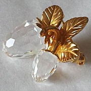 Swarovski Crystal Memories Collection Gold-Tone and Crystal Strawberry Broach
