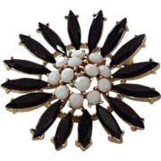 Milk Glass and Jet Sunflower Shaped Gold-tone Broach