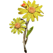 ART Yellow Daisy and Ladybug Enamel Broach