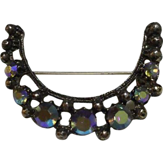 Aurora Borealis Crescent Shaped Vintage Rhinestone and Silver-tone Broach