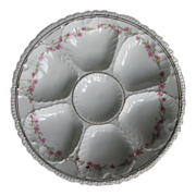 Set of Four Victoria Austria Transfer Decorated Oyster Plates circa 1904 - 1918