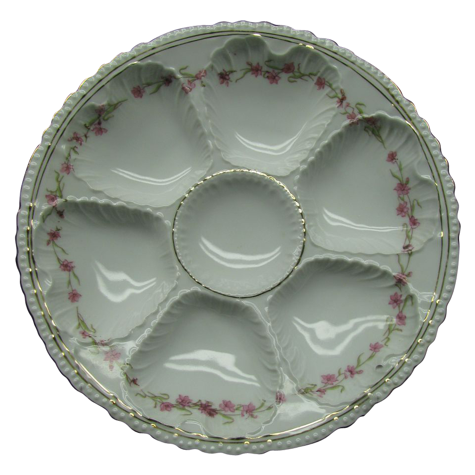 A Victoria Austria Transfer Decorated Oyster Plate circa 1904 - 1918