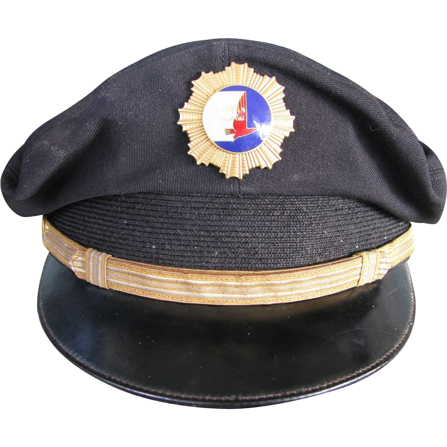 1940s Eastern Airlines pilots hat and hat badge from the early days of civil aviation