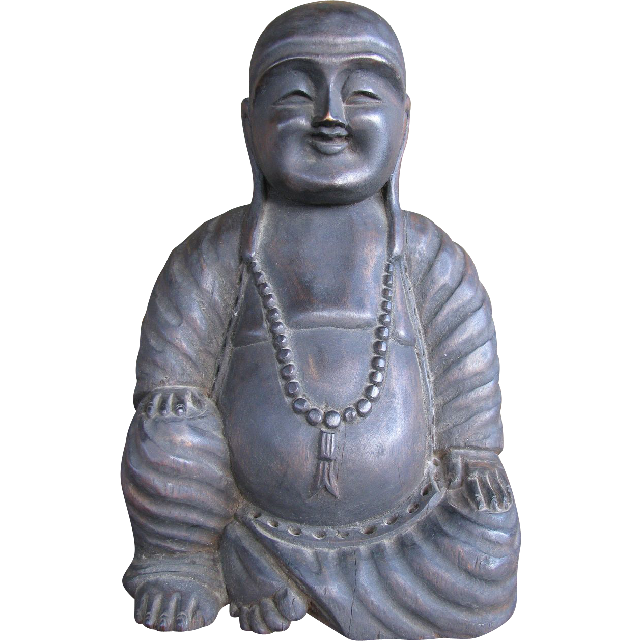 Hand Carved Wooden Sitting Buddha Statue 19th Century