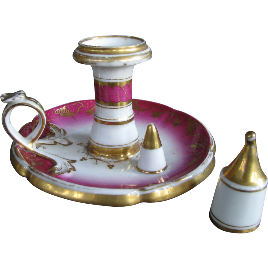 Victorian Porcelain Push-Up Chamberstick Candlestick with Snuffer