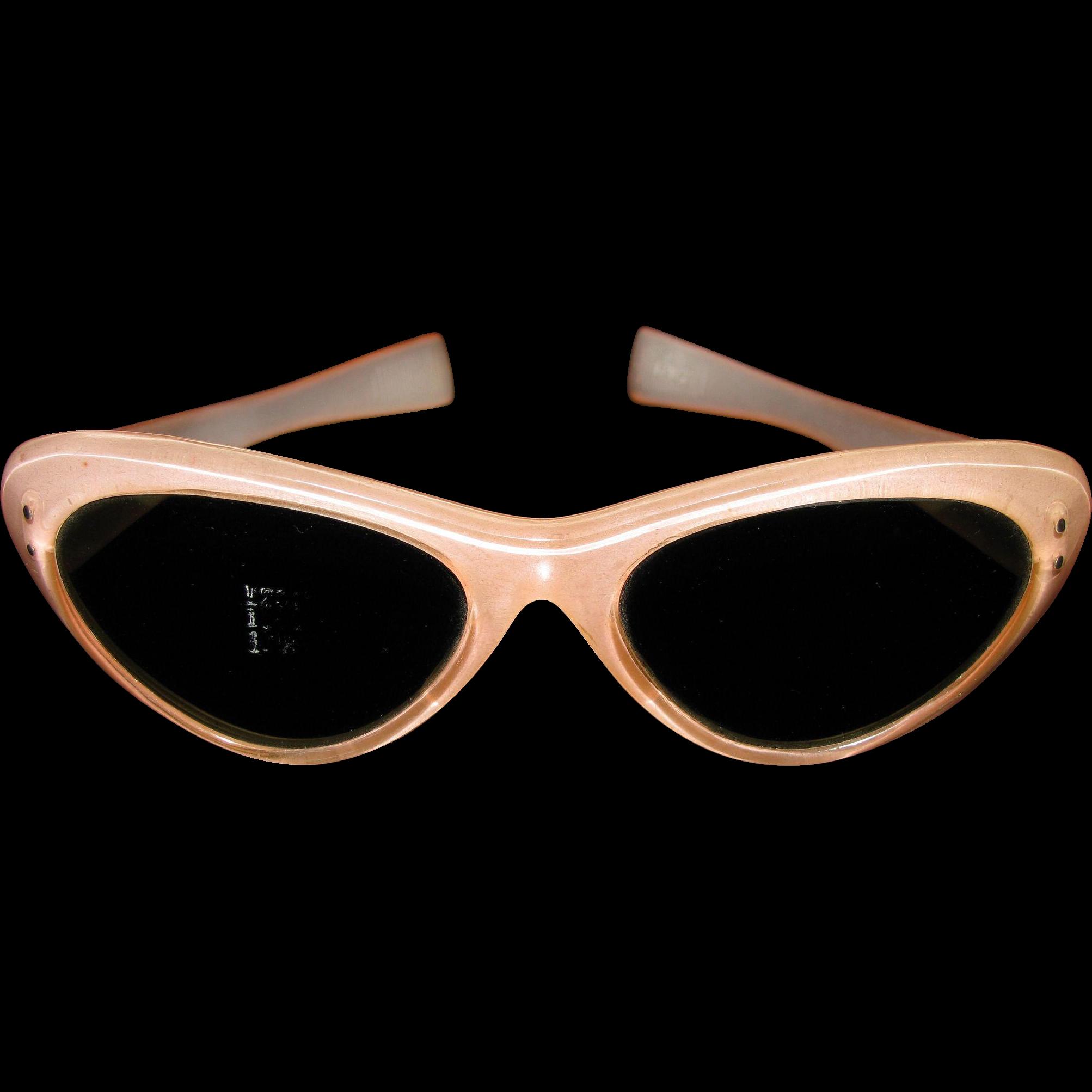 Original Vintage 1950s-60s Pink Ladies Italian Cat Eye