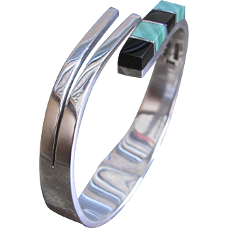 Vintage Taxco Sterling Silver 925 TN-32 Mexico Black Onyx and Malachite Hinged Cuff Bracelet
