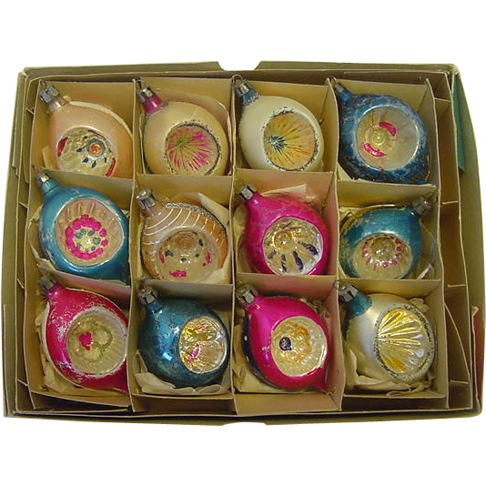 Fantasia Poland Teardrop Deep Indent Ornaments box 12