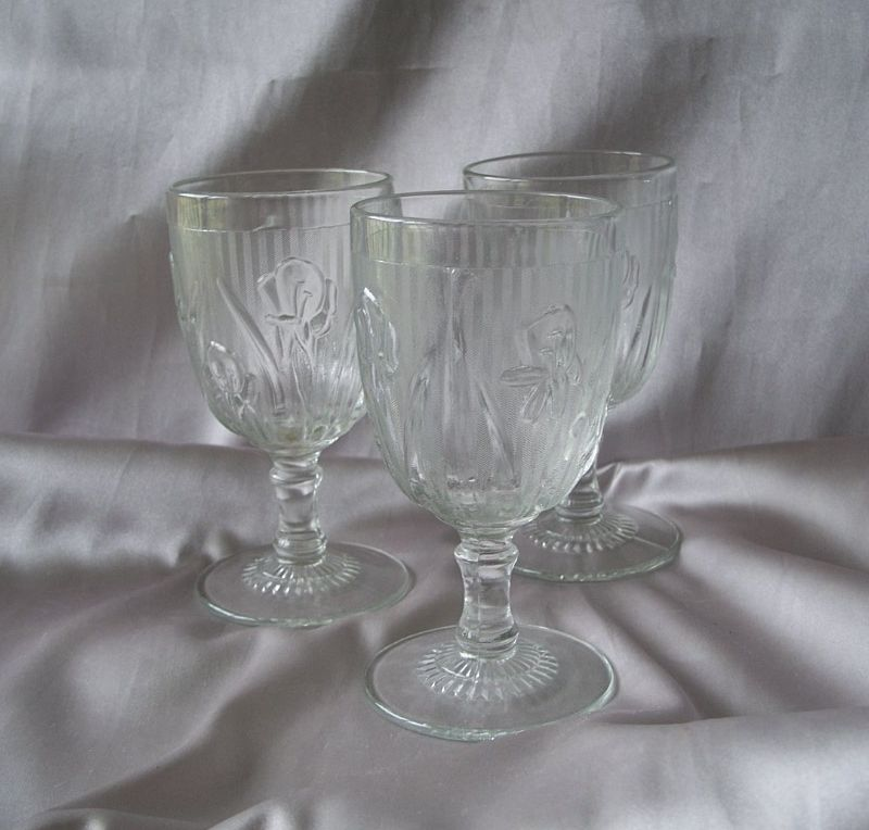 Three Iris And Herringbone Water Goblets