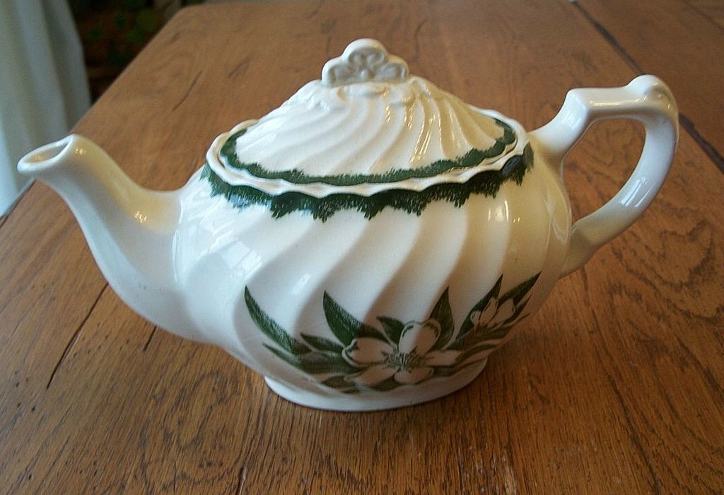 Vintage Ceramic Teapot  With A Gardenia Flower