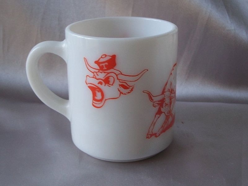 Texas UT Longhorn Milk Glass Mug