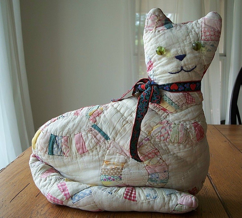 Vintage Hand Crafted Cat Quilt Pillow