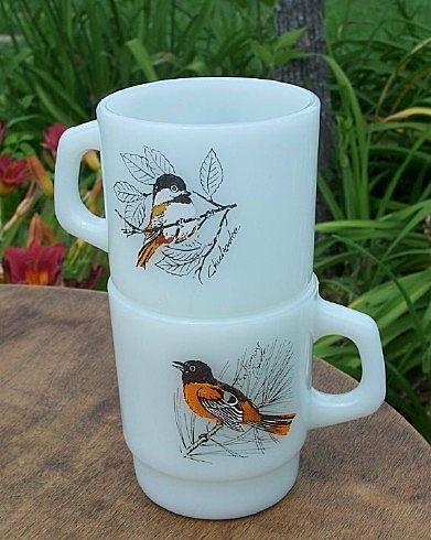 Two Anchor Hocking Birds Coffee Mugs