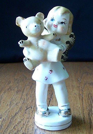 Vintage Child Angel With Teddy Bear Figurine