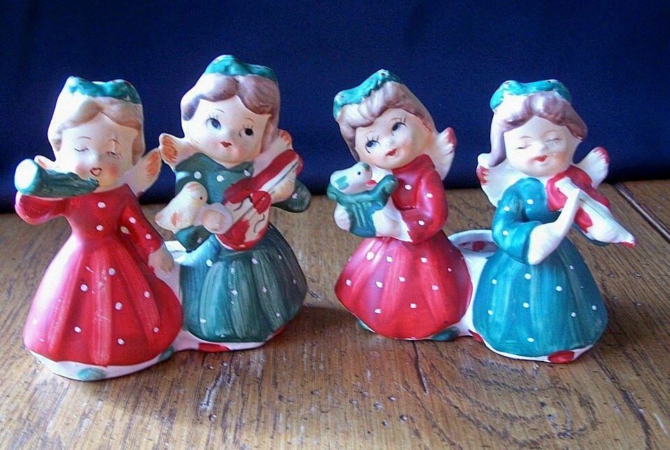 Commadore Ceramic Christmas Candleholders Girls